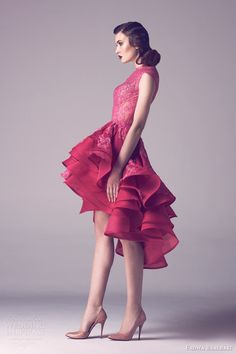 fadwa baalbaki couture spring 2015 short lace dress asymmetric hemline