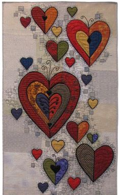 Hearts and patchwork :-) Patchwork Quilting, Applique Quilts, Crazy Quilting, Art Quilting, Quilt Art, Quilting Projects, Quilting Designs, Sewing Projects, Quilting Ideas