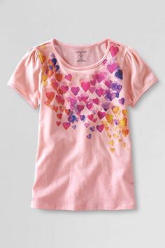 Girls' Short Sleeve Picot Edge Falling Hearts Graphic T-shirt from Lands' End