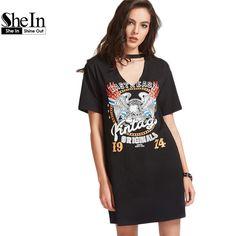 SheIn Women Summer Dresses Black Graphic Print Cut Out V Neck Tee Dress Ladies Short Sleeve Shift T-shirt Dress