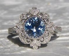 Blue Sapphire Engagement Ring, Vintage Inspired White Gold Diamond Filigree Engagement Ring, Milgrain Bezel