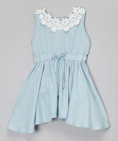 Look at this #zulilyfind! Light Blue Floral Denim Dress - Toddler & Girls #zulilyfinds