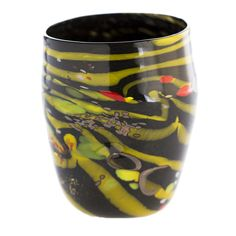 Black and yellow artistic #glass. Murrine, #silver leaf, macie, avventurine and #polychrome glass rods. #Carnival #Plus collection.