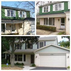 Before/After of a Forest Glen Construction home remodel project in Deerfield, IL. Quite the difference @James Hardie siding can make!