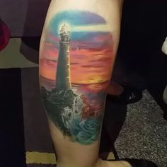 """Love this lighthouse by @tibitattooart ❤️ #perfecttattoo #perfectartist #lighthouse #lighthousetattoo #sunset #sunsettattoo #scenery #realistic #realisticart #realistictattoo #colorrealism #colortattoo #colourtattoo #tattoo #tattooed"" Photo taken by @perfecttattooartists on Instagram, pinned via the InstaPin iOS App! http://www.instapinapp.com (10/07/2015)"