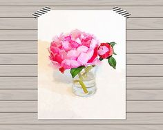Watercolor Pink Peony  Home Decor  8 X 10 by HistoryinHighHeels, $12.00