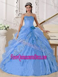 Light Blue Delish Organza Dresses for Quinceanera Decorated with Embroidery