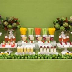 Fruit & veggie table. Love the simple look, and carrots of course go with our orange theme.  Ask caterer if..???