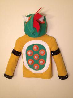 Nintendo Mario Bros. inspired Bowser fleece hoodie shirt (adult sizes) via Etsy