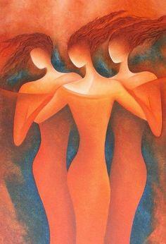 three grazies - Malerei,  70x100 cm ©2007 von Anita Burnaz -