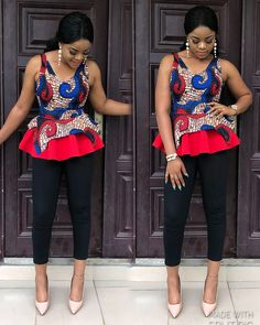 The Most Latest Ankara Top Styles Suitable for Your Palazzo, Bootcut, Office Skirt and Denim Trousers. African Attire, African Wear, African Dress, African Fabric, Latest African Fashion Dresses, African Print Fashion, Africa Fashion, Ankara Fashion, African Prints