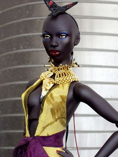 """AnaNda by NuminaDolls on Flickr. AnaNda  OOAK commission dark skin """"Ajuma"""" named Ananda in a Numina chiffon gown, and necklace by Leigh in Maine."""