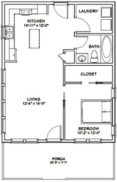 PDF house plans, garage plans, & shed plans. THROW A foot wide stairway on the left side of the living room and add three bedrooms and bathroom upstairs Br House, Tiny House Cabin, Tiny House Living, Tiny House Design, Tiny Cabin Plans, Story House, Open House, The Plan, How To Plan