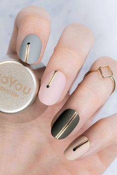 30 Cute Nail Design Ideas For Stylish Brides ❤ nail design trend colors with gold stripes moyou london official via instagram ❤ See more: http://www.weddingforward.com/nail-design/ #weddingforward #wedding #bride #weddingnails #bridalnailart #naildesign