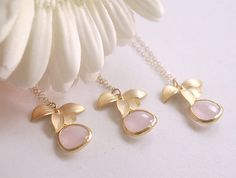 Bridesmaid Necklaces  Pink and Gold Lotus  Gold by FiveThirty, $75.00