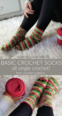 Crochet For Beginners Basic Crochet Socks Pattern - These Basic Crochet Socks Pattern use worsted weight yarn and are all single crochet! They work up surprisingly fast and are beginner friendly. A great Holiday gift. Easy Knitting Projects, Beginner Crochet Projects, Crochet Basics, Crochet For Beginners, Free Crochet Patterns For Beginners, Easy Patterns, Yarn Projects, Easy Crochet Patterns, Amigurumi Patterns