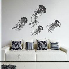 Wall Decal Vinyl Sticker Decals Art Decor Design Jellyfish Sea Ocean Deep Water Fish Scuba Bedroom Living Room Bathroom (r264)