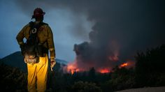 Butte Fire - A firefighter pauses to check on the growing Butte fire near Sheep Ranch, Calif.  Marcus Yam / Los Angeles Times   http://www.latimes.com/local/lanow/la-butte-fire-containment-grows-20150912-story.html