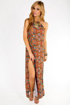 Slitted Paisley Maxi Dress $66 at www.tobi.com