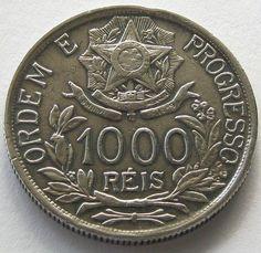 Brazil, Silver Coin, 1000 Reis 1912, Top High Grade, Scarce !