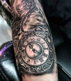 Mens Archaic Pocket Watch Tattoo With Pearls Forearms
