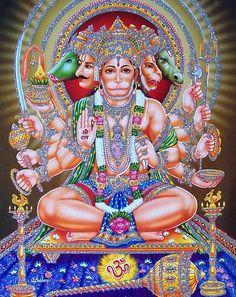 Panchamukha Hanuman Homa is unique as it invokes five forms of Hanuman that represent powerful temples of India. Hanuman Jayanthi, Hanuman Photos, Hanuman Images, Hanuman Murti, Ganesh Images, Krishna Images, Hindu Kunst, Hindu Art, Hanuman Ji Wallpapers