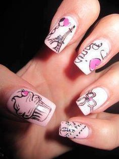 A manicure for those of us who love Paris and pink nails Get Nails, Fancy Nails, Love Nails, Paris Nail Art, Paris Nails, Fabulous Nails, Gorgeous Nails, Pretty Nails, Nails After Acrylics