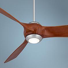 "56"" Nemesis™ Brushed Nickel-Wood Blade LED Ceiling Fan"