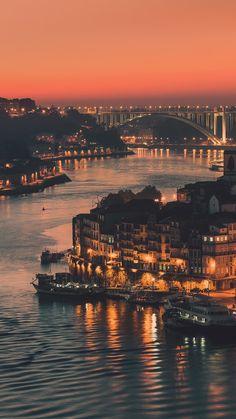 porto portugal travel destinations in europe city night Spain And Portugal, Portugal Travel, Places To Travel, Places To See, Travel Destinations, Places Around The World, Around The Worlds, Visit Porto, Porto City