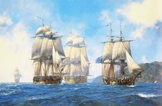 """""""Captain Aubrey's Commands"""" Some of Captain Jack Aubrey's most famous commands sail together in this sold-out print: from left to right they are Leopard, Surprise, Bellona and Sophie. by Geoff Hunt Nautical Artwork, Nautical Theme, Master And Commander, Ship Paintings, Modern Paintings, Wooden Ship, Ship Art, Tall Ships, Royal Navy"""