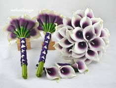 Picasso Purple Real Touch Calla Lilies Silk Bridal by MrhanDesign