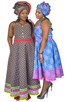 Use the Three Leopards Contemporary Collection to create striking dresses for women. African Dresses For Women, African Attire, African Fashion Dresses, African Women, Seshoeshoe Dresses, Summer Dresses, Shweshwe Dresses, African Print Fashion, Leopards