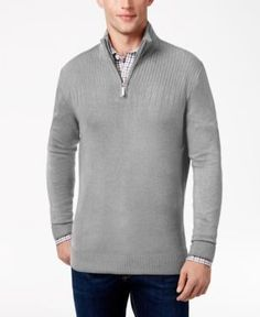 Geoffrey Beene Men's Big & Tall Quarter Zip Sweater - Gray 4XB