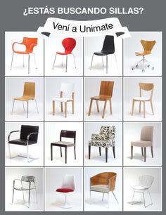 ¿Estás buscando sillas? Vení a Unimate. Acercate a nuestros locales y elegí la silla que estás buscando, entre más de 100 opciones y combinaciones posibles. Thames 1373 y Arenales 1257, Bs As  www.unimate.com.ar
