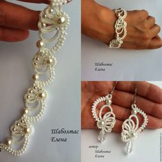 62 Ideas Crochet Bracelet Tutorial Needle Tatting For 2019 Tatting Bracelet, Tatting Earrings, Lace Bracelet, Tatting Jewelry, Lace Necklace, Tatting Lace, Wedding Bracelet, Beaded Jewelry, Handmade Jewelry