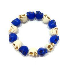 Pulsera Calaveras azul y blanca - Gnomo