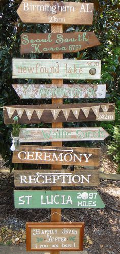 Customized Key West Style Distressed Wooden Mile Marker Directional Sign for Decor or Special Occassion/Wedding. $22.00, via Etsy.