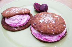 Mesquite Flour Cookies with Prickly Pear Cream Filling
