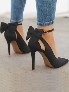 0d19ec78d371 Chaussures à talons hauts avec noeud papillon mode élégant femme escarpin  noir - PROMOTIONS