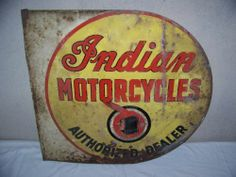 "Rare Vintage 1930's Indian Motorcycles 2 Sided 26"" Metal Flange Gas Oil Sign"
