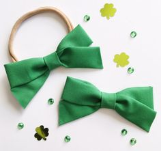 $9  School Girl Bow Kelly Green Headband with Nylon Band or Hair Clip, St. Patrick's Day bow, Clover bow, nylon headbands, baby girl headband, newborn headband, one size fits most, toddler headband, accessories, baby bows, baby shower, birthday girl favor, girl birthday, stretchy headband, ever iris, hair bows, hair clips, baby girl bow