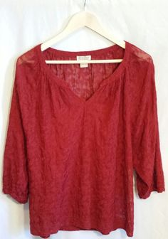 Lucky Brand Women's Red Embroidered Festival Blouse~Size Medium #LuckyBrand #Blouse