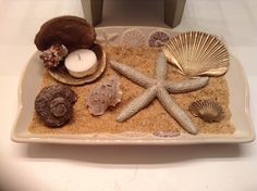D.I.Y bathroom decor. I love the seaside but the closest one to me is hours away so I brought a little beach indoors to my bathroom. All you need is a small tray of some kind ( I bought mine a Bed, Bath, and Beyond. Some sand (I used sand vase filler and an assortment of pretty shells.