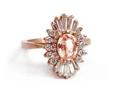 LOVE Art Deco Oval Engagement Ring - Morganite and diamonds, white sapphires - sunburst, Gatsby - engagement, wedding, anniversary, cocktail