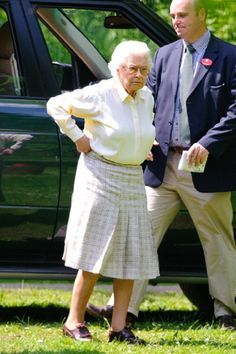 May 17: Queen Elizabeth II attends the Royal Windsor Horse Show-2014 at Home Park in Windsor, England.