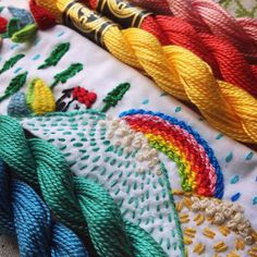 Señorita Lylo's Embroidered Collars are Ready to Party Thread Art, Thread Painting, Needle And Thread, Embroidery Stitches, Hand Embroidery, Fabric Embellishment, Needlepoint, Needlework, Cross Stitch
