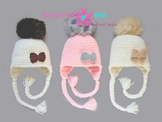 Caciula crosetata cu mot de blana blanita by Anamaria Ami fur pom pom crochet hat