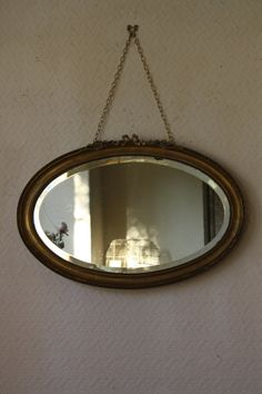 Vintage French Oval Gilt Mirror with Roses and by ArthurandEde
