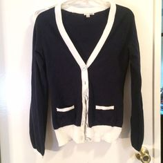 Cardigan Classic navy and white cardigan. Button closure, two small front pockets. 100% cotton. Perfect condition. Halogen Sweaters Cardigans