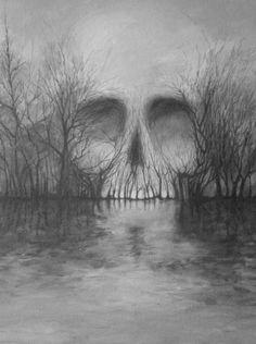 Illustration art painting alchemy W. Illusion Kunst, Illusion Art, Fond Design, Skull Artwork, Skeleton Art, Bild Tattoos, Optical Illusions, Macabre, Dark Art